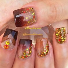 Bright Glitter Nails via More Nägel Ideen Chrom 30 Nail Ideas for Fall - Latest Nail Art Trends & Ideas - Pretty Designs Fall Acrylic Nails, Fall Nail Art, Acrylic Nail Art, Glitter Nails, New Nail Art, Thanksgiving Nail Designs, Thanksgiving Nails, Fancy Nails, Nail Manicure