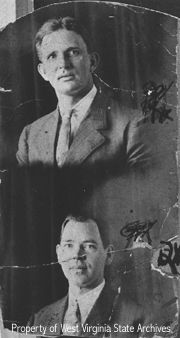 "Elias and Troy Hatfield-     Elias (top) and Troy Hatfield, sons of ""Devil Anse."" Both became involved in the saloon business in Boomer and were killed on October 17, 1911 in a dispute over liquor distribution."