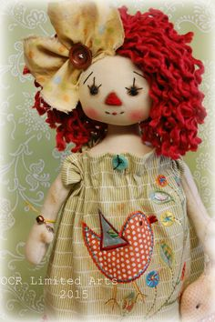 Primitive Folk Art Raggedy MELODY Ann bird big by OCRLimitedArts