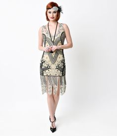 Unique Vintage 1920s Style Silver   Black Beaded Sinclair Flapper Dress  Flapper Dresses For Sale b68fa503c