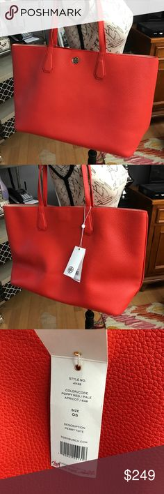 """NWT Tory Burch Perry tote New with tags Tory Burch Perry tote. Extra large and roomy anytime tote. For work, play, it's always ok. In Poppy red/ Pail apricot. Large open compartment,and two side pockets for phone or extras. 9"""" handle shoulder strap. 19""""Lx11""""Hx6""""D. From clean smoke free home. No low ball offers or trades Tory Burch Bags Totes"""