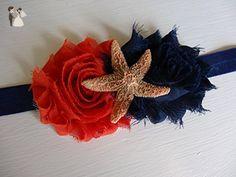 Starfish Headband - Starfish Bows - Ocean Birthday - Sea Star - Orange and Blue - Orange and Navy Headband - Flower Hair Piece - Adult Bows - Bridal hair accessories (*Amazon Partner-Link)