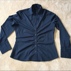 NY&Co navy blue long-sleeved ruched button down Long-sleeved navy button shirt with ruching by NY&Co. Lightweight & easy care. Excellent condition, no damage. I'm open to offers & give bundle discounts! 😊☮❤️✌️ New York & Company Tops Button Down Shirts