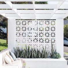 14 unique breeze block wall inspiration for housing that suit to apply as a fenc… – Breeze Blocks Backyard Privacy, Pergola Patio, Backyard Patio, Pergola Ideas, Pergola Kits, White Pergola, Pergola Plans, Pergola Swing, Pergola Shade