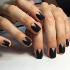 trendy matte black nails designs inspirations for ladies 24 ~ thereds.me trendy matte black nails designs inspirations for ladies 24 ~ thereds.me,Makeup trendy matte black nails designs inspirations for ladies Black Manicure, Matte Black Nails, Black Nail Art, Manicure E Pedicure, Black Polish, Black Nails Short, Black Nail Tips, Short Nail Manicure, Manicure Ideas