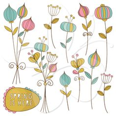 Spring is here Digital Clip Art Clipart Set  by CollectiveCreation, $4.00