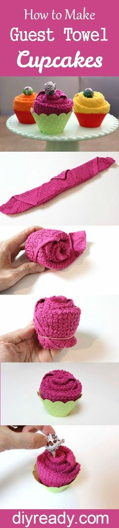 # Easy Crafts for gifts How to Make Guest Towel Cupcakes DIY Projects Craft Ideas & How To's for Home Decor with Videos Crafts To Make, Easy Crafts, Arts And Crafts, Easy Diy, Craft Gifts, Diy Gifts, Party Gifts, Party Favors, Towel Origami