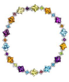 Cellini Jewelers Diamond Shaped Semi-Precious Necklace. This stunning semi precious necklace is composed of 22 carats of Lemon Quartz, Citrine, Amethyst, and blue Topaz.