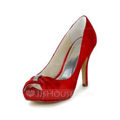 Women's Satin Stiletto Heel Peep Toe Pumps With Rhinestone (047039409)