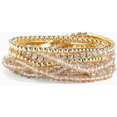 Torrid Rhinestone Beaded Bracelet Set ($19) ❤ liked on Polyvore featuring jewelry, bracelets, accessories, bangles, bauble jewelry, bracelets bangle, rhinestone bangles, bead jewellery and bangle bracelet set