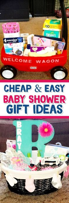 28 Affordable & Cheap Baby Shower Gift Ideas For Those on a Budget Baby Shower Gift Ideas – Cheap & Easy DIY Baby Shower Gifts for Boys and For Girls (gender neutral baby shower gift ideas too) Cheap Baby Shower Gifts, Baby Shower Gift Basket, Simple Baby Shower, Gender Neutral Baby Shower, Baby Shower Parties, Baby Showers, Shower Party, Diy Shower, Diy Gifts For Mom