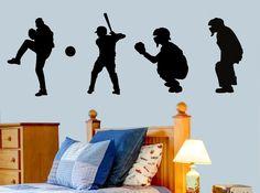 Just Sayin Vinyl  - Baseball Players Silhouette Vinyl Wall Decal, $15.00 (http://justsayinvinyl.com/baseball-players-silhouette-vinyl-wall-decal/)