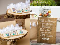Wedding favor table including custom photo cookies as favors and a hand painted sign. Cookies by Coveted Cakery. Hand painted sign by Wild Heart Events. Santa Barbara Wedding Photography by Leah Valentine.