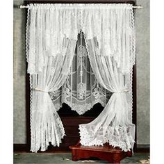 $ 224 - Garland Lace Jacquard Curtain Panel and Valances, full dress both windows as shown.