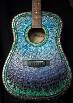 Ponder This Mosaic art Acoustic Guitar by SallyMaysMosaicArt