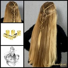 Simple tie back hairstyle with bead cuffs from the webshop www.goudhaartje.nl