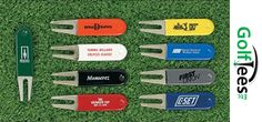 Custom Personalized Rubber Coated Bent Divot Repair Tools available in different colors like White, Gray, Red, Black, Yellow, Green, Orange, and Dk. Blue.