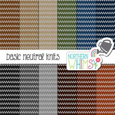 Knit Digital Paper – neutral knit texture scrapbook paper with stripes in brown, grey, navy blue, & olive - printable paper - commercial use