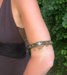 Macrame Armlet Anklet Turquoise Made to Order door MagicKnots, €26.00
