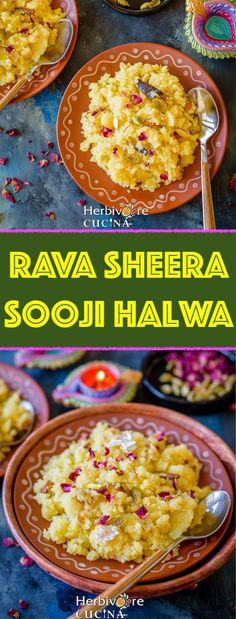 Herbivore Cucina Rava Sheera Sooji HalwaAn easy to make yet addictive Indian dessert Sooji Halwa is a MUSTHAVE sweet for festivals and celebrations Super quick yet addic. Elegant Desserts, Indian Desserts, Indian Food Recipes, Whole Food Recipes, Vegan Recipes, Dessert Recipes, Low Carb Brownie Recipe, Brownie Recipes, Vegetarian Snacks