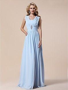 Sheath/Column V-neck Floor-length Chiffon Evening/Prom Dress – USD $ 149.99
