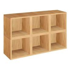 Way Basics 6 Stackable Storage Cubes - Modular Storage Shelf - Natural Wood Grain