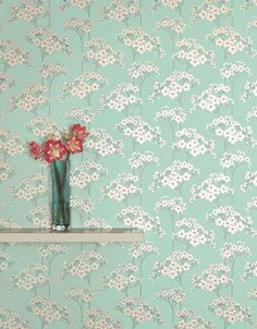 pretty mint green floral wallpaper