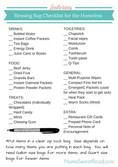 Blessing bag checklist for the homeless printable. Great small group outreach idea!