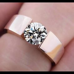 18kt Rose Gold Plated Tension Set VVS CZ Ring 9 New Unisex 18kt Rose Gold Plated Tension Set VVS CZ Ring 9 Aneka Brown Designs Jewelry Rings