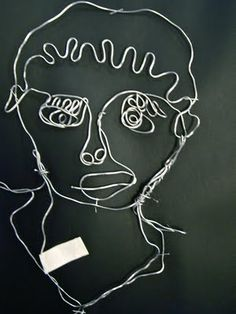 Wire portraits - Contour line self portrait extension. Could use string instead?