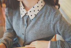 dotted blouse and plain cardigan / grey, white and black