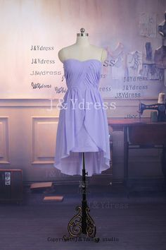 High Low Sweetheart Short Chiffon Bridesmaid Dress, Lavender Color Bridesmaid Dress on Etsy, $89.00