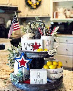 July Tiered Tray decoration ideas to glam up your home in Patriotic Spirit - Hike n Dip Fourth Of July Decor, Happy Fourth Of July, 4th Of July Decorations, 4th Of July Party, July 4th, Table Centerpieces, Table Decorations, Holiday Centerpieces, Kitchen Tray