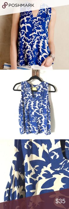 HOLIDAY SALE‼️ANTHROPOLOGIE MAEVE BLUE BIRD TOP Lovely sleeveless top with beautiful blue birds, worn many times with love & still in great condition.    SELLERS NOTE:  •All items are inspected and described as thoroughly and honestly as possible.  •Items are sold as is (as described)  •Each order is packaged with extreme CARE & SHIPPED SAME/NEXT BUSINESS DAY, unless seller communicates otherwise.  •Buy with comfort from a top seller, fast shipper (refer to Love Notes) •Sellers goal is to…