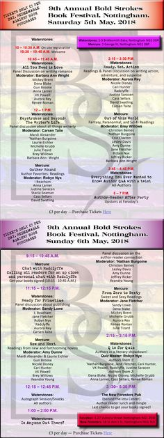 Bold Strokes Books book festival in Nottingham, UK - May 5 and 6, 2018. I will be there and so will tons of other BSB authors and staff. I hope you will join in the fun! :-)