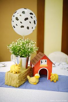 Gabo's Barnyard Themed Party – Table Centerpiece