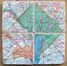 Washington D.C. Map Coasters Green by CarolinaCottage on Etsy