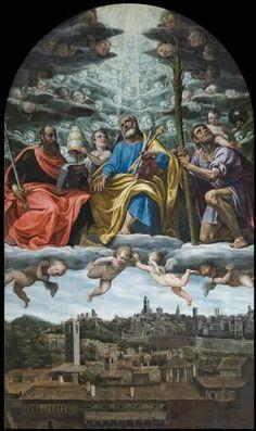 Giovan Paolo Cavagna - San Pietro, San Paolo e San Cristoforo in gloria - primo Seicento -  Bergamo, Sant'Alessandro in colonna.