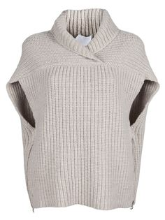 Phillip Lim Cardigans for Women Phillip Lim Shawl Vest in Beige (oatmeal) - design inspiration, looks like two rectangles. Loom Knitting, Knitting Patterns Free, Knit Patterns, Phillip Lim, Apparel Design, Knit Cardigan, Slouchy Sweater, Crochet Clothes, Cardigans For Women