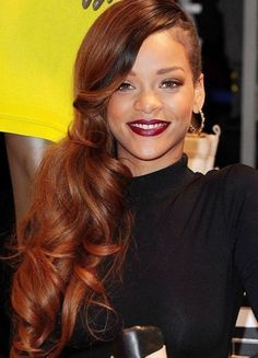 Rihanna Long Hairstyles: Red Curly Hair Style for 2014 -- Curated by: Adventures In Hair | 1611 Ellis Street Kelowna BC V1Y 2A8 | 2507629868