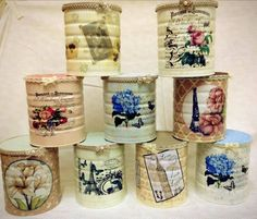 Resultado de imagen de decoracion de frascos de vidrio estilo vintage Decoupage Tins, Decoupage Vintage, Vintage Crafts, Tin Can Crafts, Diy And Crafts, Tin Can Centerpieces, Recycle Cans, Altered Tins, Bottle Painting