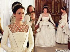 """In the episode 2x12 (""""Banished"""") Ice Queen Mary wears this breathtaking Reign Costumes custom white gown with the pearl embellished collar inspired by Catherine de' Medici.Worn with a Paris by Debra Moreland headpiece, Philippa Kunisch earrings, Gillian Steinhardt labyrinth and signet rings."""