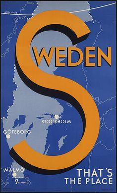 Sweden #vintage #travel #poster