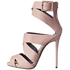 Giuseppi Zanotti New Sold Out Blush Pink Leather Emboss Sandals Heels... ❤ liked on Polyvore featuring shoes, sandals, real leather shoes, python sandals, pink leather shoes, snakeskin print shoes and python leather shoes