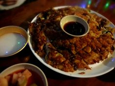 Korean Seafood Pancake, with sauce!