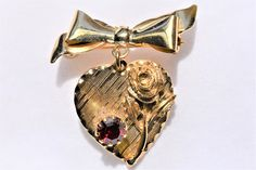 """Vintage Heart Rose Flower Brooch Rhinestone Gold Tone Coat Sweater Lapel Pin Retro Costume Jewelry 1.25"""" by DecoOwl5 on Etsy"""