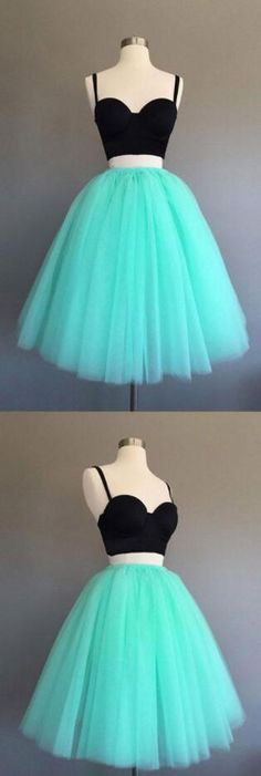 Sexy Homecoming Dress,Cheap Prom Dress,Short Homecoming Dress,Black and Blue Two Piece Prom Dresses,Tiered Tulle Prom Party Dresses