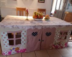 Custom made Tablecloth Playhouse - Country Cottage Crafts To Do, Crafts For Kids, Build A Playhouse, Table Tents, Selling Handmade Items, Under The Table, Cottage Design, Cubbies, Play Houses