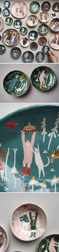 Polly Fern's colorful illustrated ceramics just made my day. Find them on the blog!