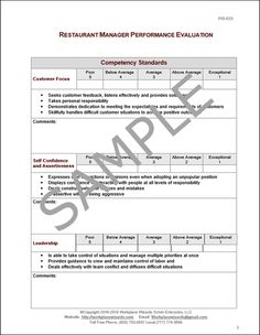 Restaurant Management Forms Workplace Wizards Restaurant Consulting Evaluation Form, Performance Evaluation, Restaurant Consulting, Restaurant Manager, Employee Performance Review, Cleaning Schedule Templates, Learn To Run, Achieve Success, Job Description